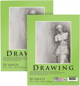 "U.S. Art Supply 9"" x 12"" Premium Drawing Paper Pad"